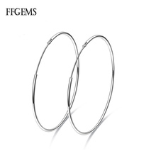 FFGems Big Earrings for Women Sterling Silver 925 Jewelry Female Fashion Woman 20-80mm Fine Lady Party Gift