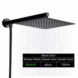 Rozin Black Ultrathin Rainfall Shower Head Wall Mounted Shower Arm Bracket Bar 150cm Shower Hose Bathroom Faucet Set