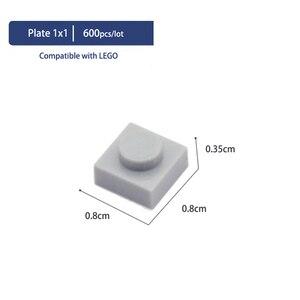 Image 3 - Compatible With LEGOE Bircks Parts Plastic Building Blocks Plate 1x1 1*1 Creative DIY Models Education Learning Toys 600 Pieces
