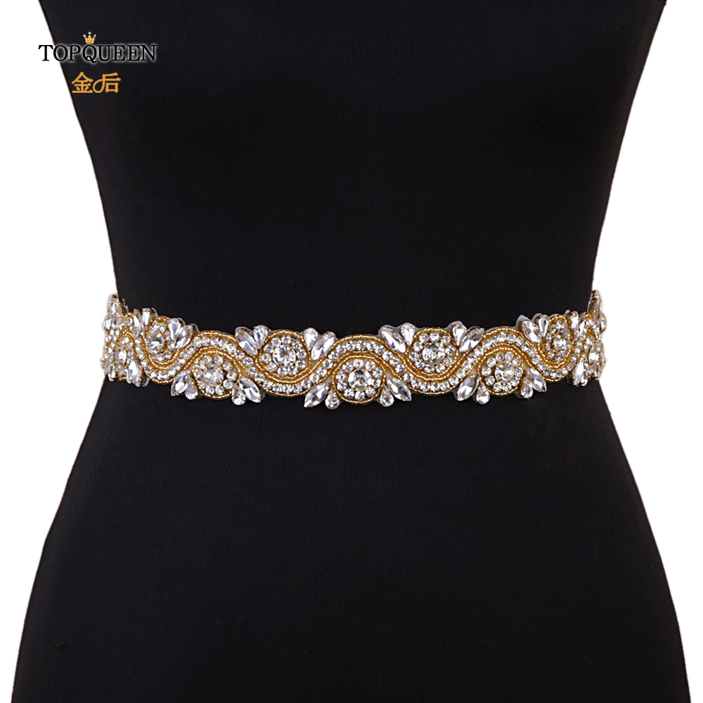 TOPQUEEN S164-G Gold Diamond Belt Wedding Dress Belt Gold Bridesmaid Belt Gold Sequin Belt Gold Rhinestone Belt