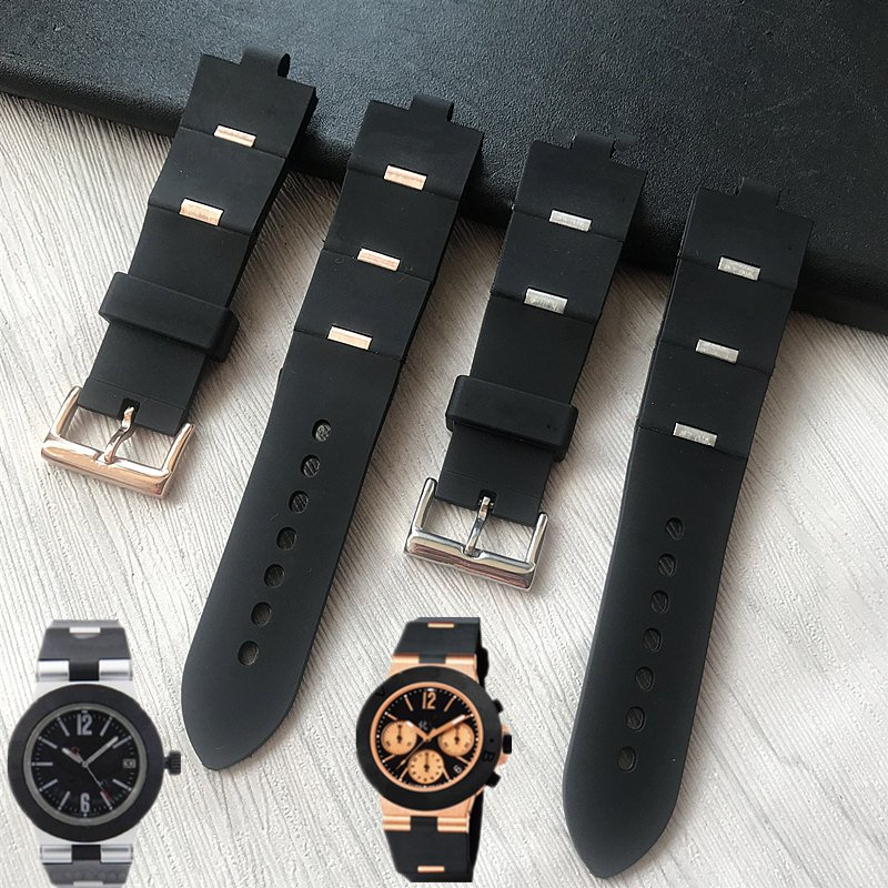 MERJUST Watchband Man Black  Rubber Replacement Watch Band Strap For Bvlgari Bvlg Diagono24mm X 8mm Drop Shipp