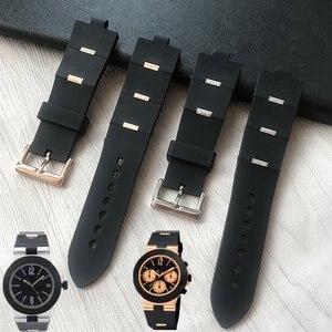 Image 1 - MERJUST גבר רצועת השעון שחור גומי שעון החלפה רצועת עבור bvlgari bvlg Diagono24mm x 8mm drop שיפ