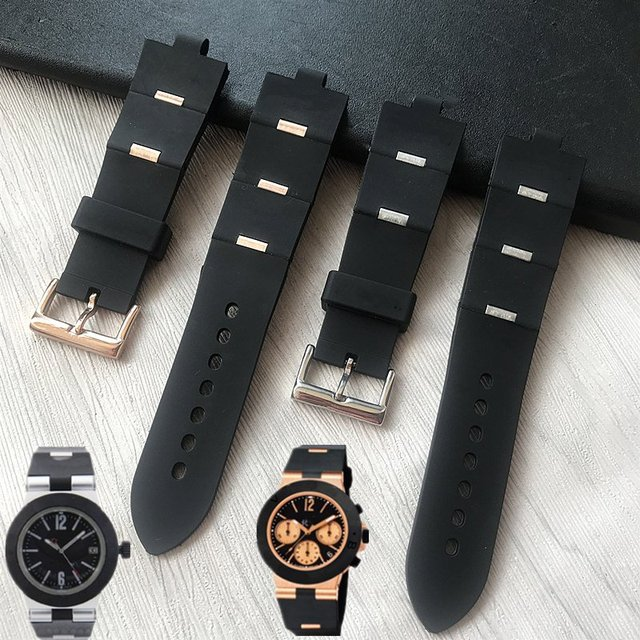 MERJUST גבר רצועת השעון שחור גומי שעון החלפה רצועת עבור bvlgari bvlg Diagono24mm x 8mm drop שיפ