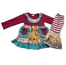 الفتيات كشكش ملابس الشتاء مع الزهور نمط مجموعة المحلات التجارية للفتيات طفل