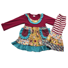 girls ruffle winter outfits with flowers pattern boutique set for baby girls