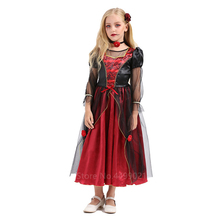 Witch Cosplay Costumes Horror Vampire-Dresses Scary Carnival Halloween Red Black Party
