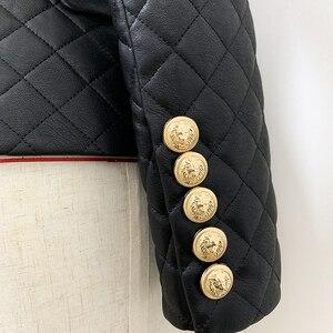 Image 5 - Chaqueta de cuero sintético ajustada con botones de León para mujer, chaqueta femenina de alta calidad, con relleno de algodón, 2020