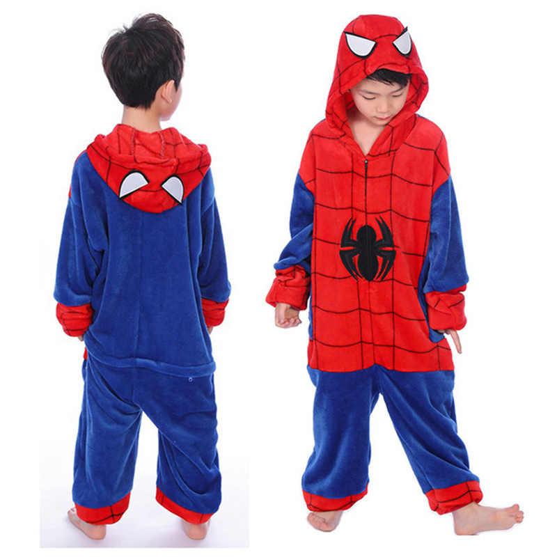 Bambini Pigiama Kigurumi Animale Unicorno Punto Spiderman Pigiami Per Le Ragazze Dei Ragazzi Flanella Con Cappuccio Dei Bambini Degli Indumenti Da Notte Nuovo Cosplay