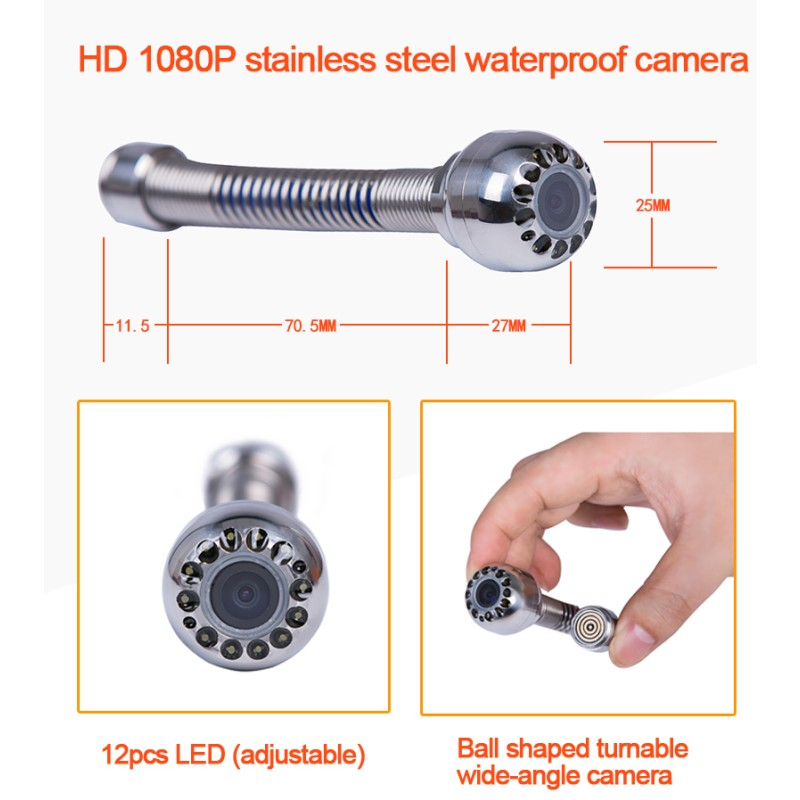H1 расширение для эндоскопа зонда, запасные части, dia.25 мм нержавеющая Инспекционная камера Замена головки, только подходит H1