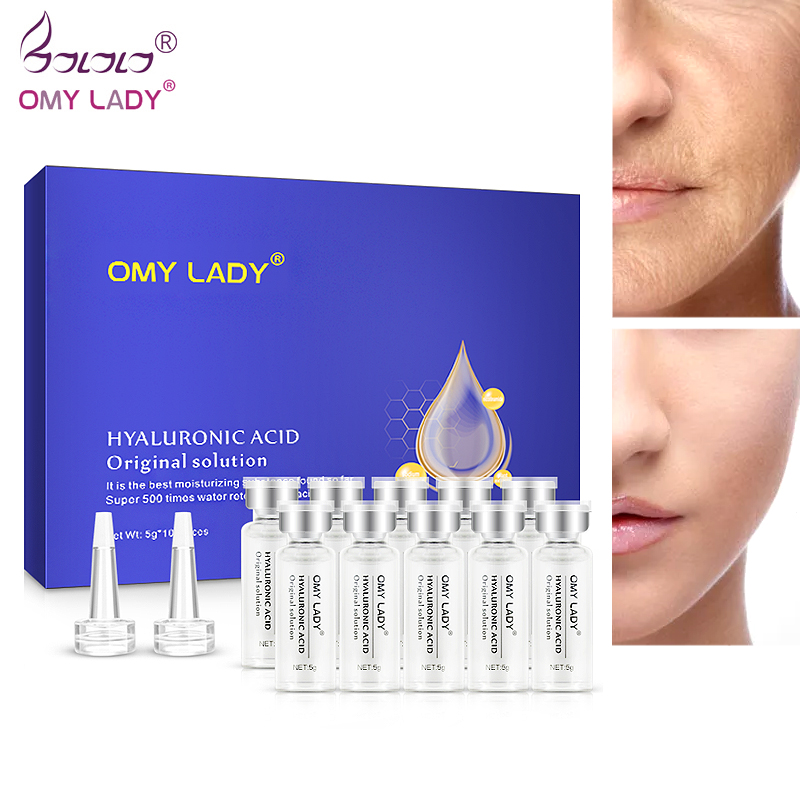 OMYLADY 10pcs Serum Moisturizing Hyaluronic Acid Vitamins Facial Moisturizing Anti Wrinkle Aging Collagen Skin Care Essence