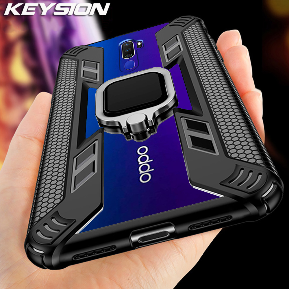 KEYSION Shockproof Armor <font><b>Case</b></font> for <font><b>OPPO</b></font> <font><b>A9</b></font> <font><b>2020</b></font> <font><b>A5</b></font> <font><b>2020</b></font> A11X Stand Car Magnetic Holder Ring Phone Cover for <font><b>OPPO</b></font> F11 F11 Pro Reno image