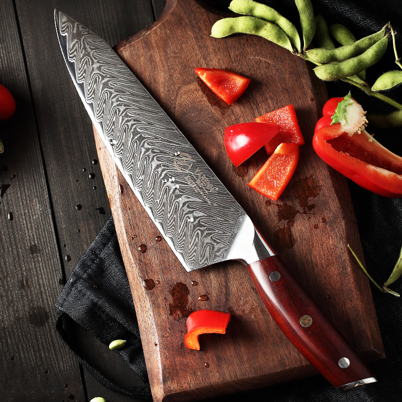 YARENH 8 Inch Kitchen Knives 67 Layers Damascus Chef Knife Profession For Meat Vegetable Cooking Japanese Knife Rosewood Handle image