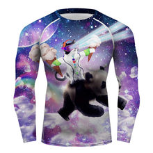 BJJ MMA Rashguards Long Sleeve Top Shirts Skin Tee Compression Base Layer Space Racer Cat Pizza Cat Sublimated Print T-shirt Top(China)
