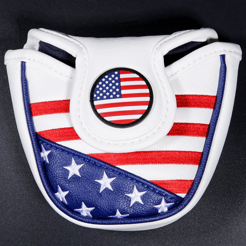 Golf Putter Headcover USA FLAG Mallet Putter Headcovers Golf Club Head Cover Embroidery PU Leather Magnetic Free Shipping