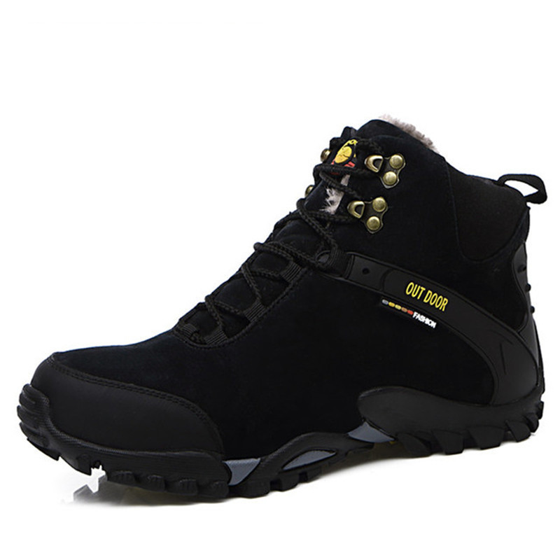 Winter Warm Fur Snow Boots Male Shoes For Men Adult Fashion Cow Suede Walking Work Safety Ankle Footwear Sneakers