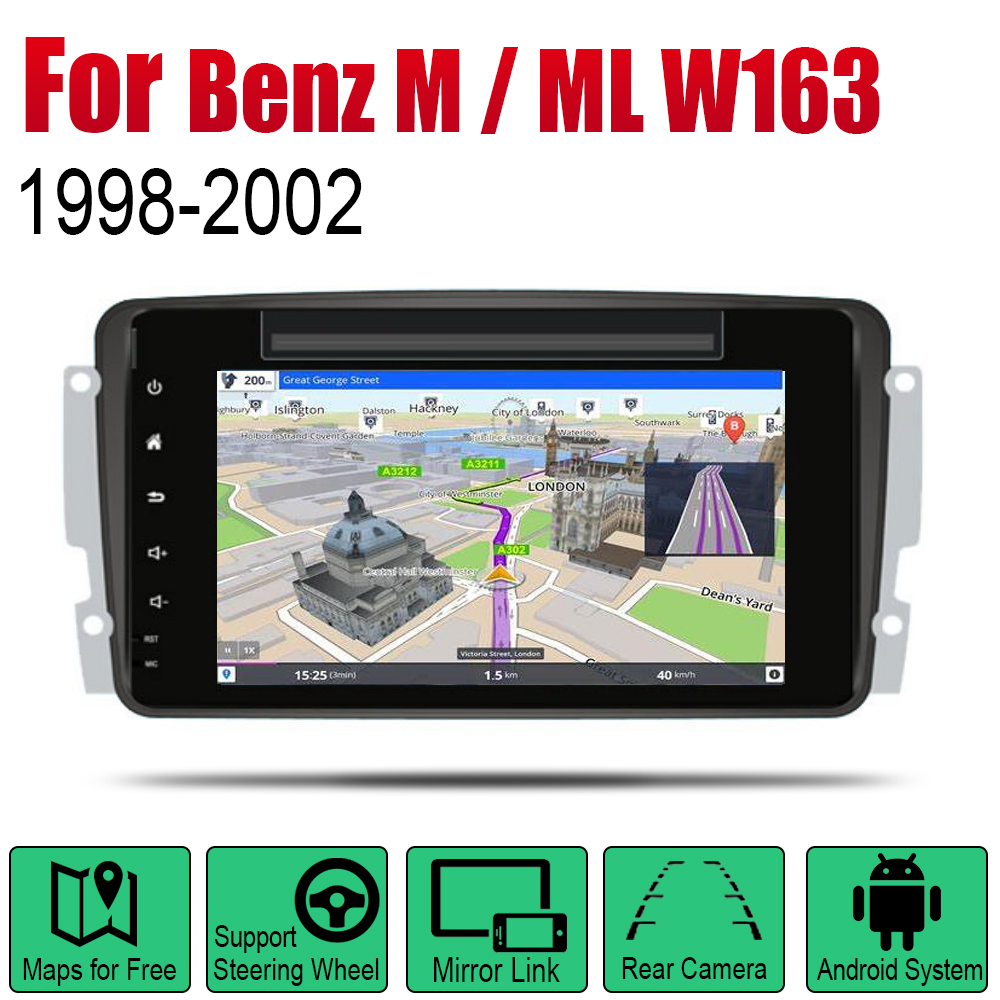 <font><b>Car</b></font> DVD Player For Mercedes Benz M <font><b>ML</b></font> <font><b>W163</b></font> 1998 1999 2000 2001 2002 NTG IPS LCD Screen GPS Navigation Android System <font><b>Radio</b></font> Audio image