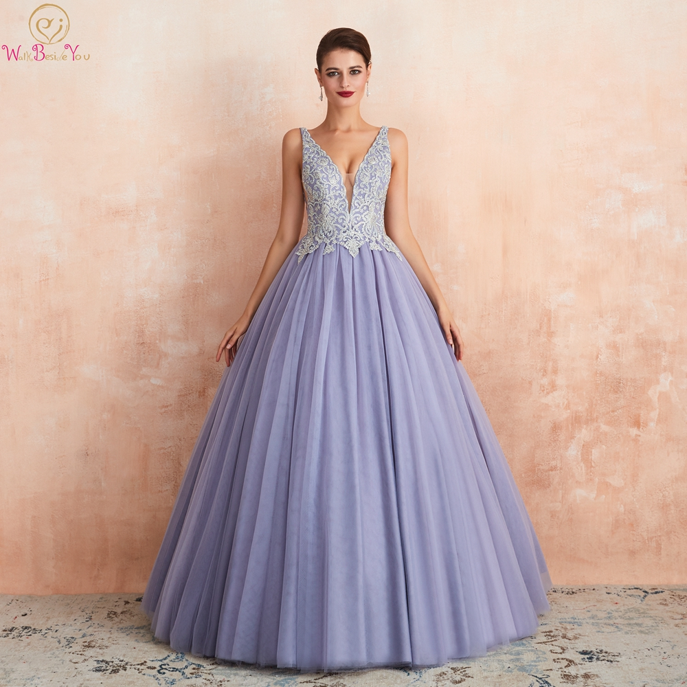Ball Gown Lavender Prom Dresses 2019 Tulle Lace Appliques Crystal V Neck Sleeveless Occasion Evening Formal Stock