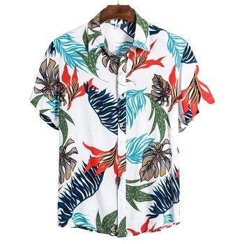 Summer Man Shirt Mens Ethnic Printed Stand Collar Cotton Linen Palm Tree Short Sleeve Loose Hawaiian Henley Shirt hawaiian shirt 2