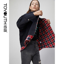 Toyouth BF Wind Plaid Jackets Streetwear Patchwork Long Sleeve Women Black