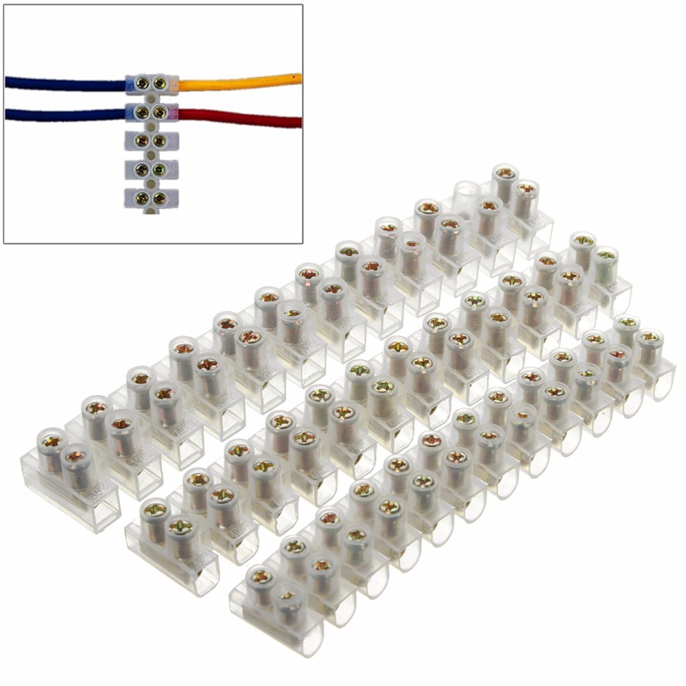 36Pc ELECTRICAL BLOCK STRIP CABLE WIRE CONNECTORS 3A 5A 10 Amp TERMINAL BLOCK