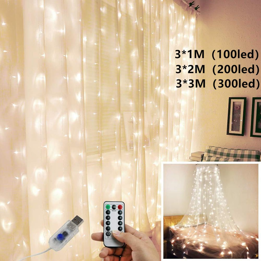 Usb Curtain Fairy Lights Led String Bedroom Christmas Girl Romantic Copper Wire Remote Control Aliexpress