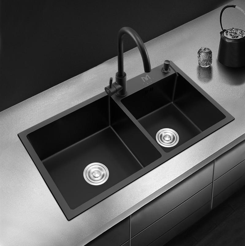 Kitchen Sink Black 304 Stainless Steel Kitchen Sink Large Size Sink Undermount Double Bowl