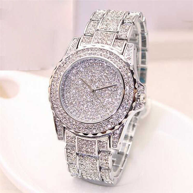 Mulheres Senhoras de Bling Diamantes de Cristal Relógio de Pulseira Da Moda de Luxo Em Aço Inoxidável relógios de Pulso de Quartzo mulheres relógios часы женские