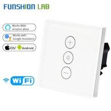 Ab/İngiltere WiFi akıllı duvar dokunmatik işık Dimmer anahtarı akıllı yaşam/Tuya APP uzaktan kumanda ile çalışır Amazon alexa ve Google ev