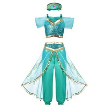 Arabian Princess Aladdin Jasmine Fancy Costume Children Girls Sequins Halloween Party Cosplay Dress Up Outfit Clothes