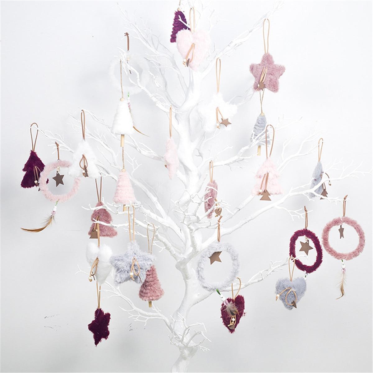5 uds. Colgante de árbol de Navidad corazón blanco rosa ornamento de plumas decoración de Navidad para la decoración del hogar 40 unids/lote 50mm Bola de lámpara de cristal transparente con agujero, atrapasoles de ventana adornos de Navidad colgantes, bola de cristal facetada