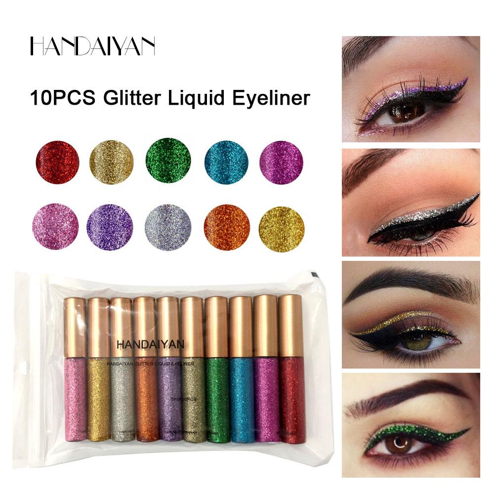 Handaiy10 colorido brilho líquido delineador, longa duração brilhante sombra de olho metálico e combinação delineador