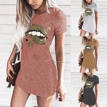 Vintage Summer Dress Oversized Pocket Cartoon lips decoratio