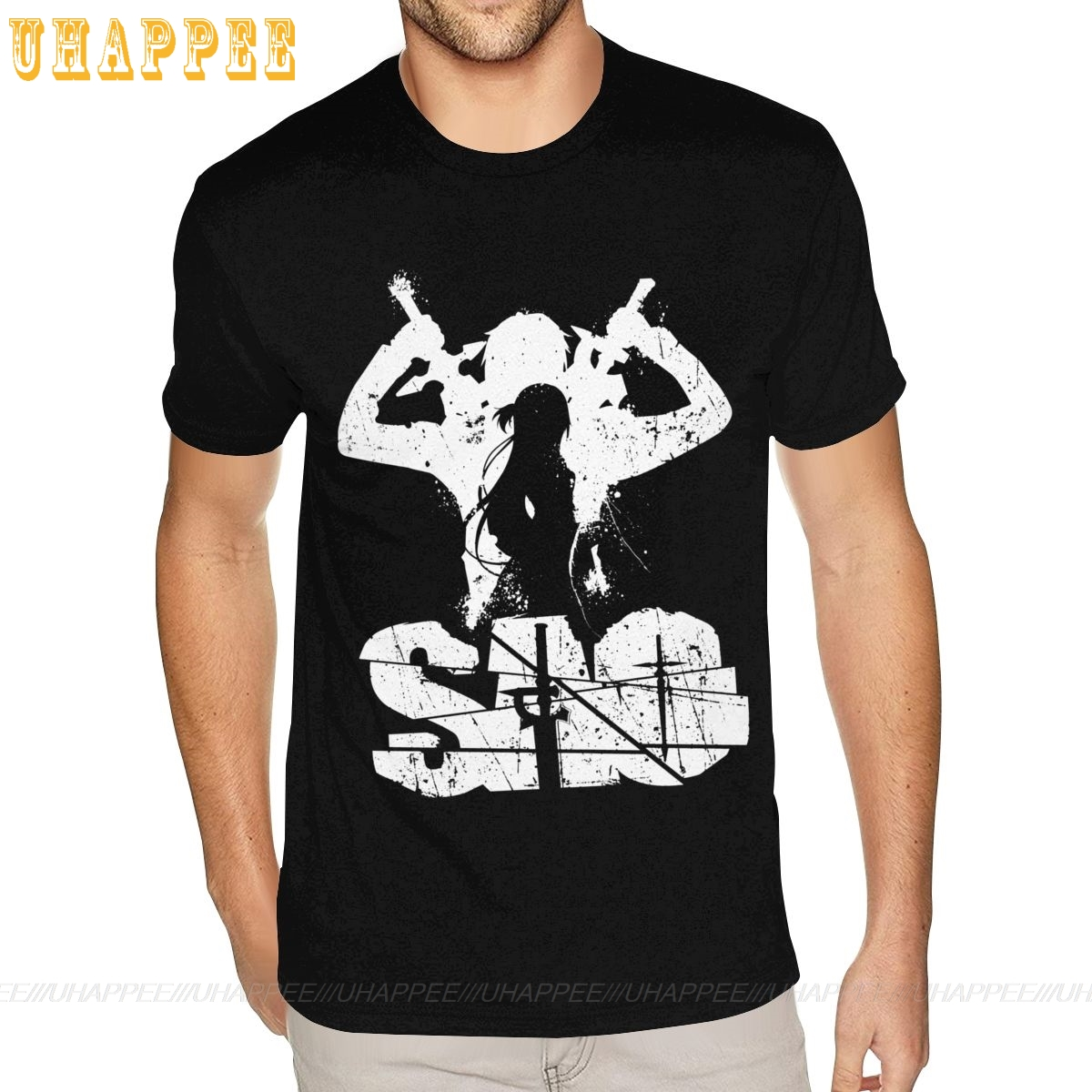 Yellow Sword Art Online Tee Men's 3XL Short Sleeved Black Crew T Shirt