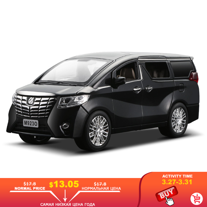 NEW 1:24 1:32 Toyota Alphard Luxury Business Car Model Alloy Pull Back Diecasts Toy Vehicles 6 Doors Can Be Opened Free Shipping