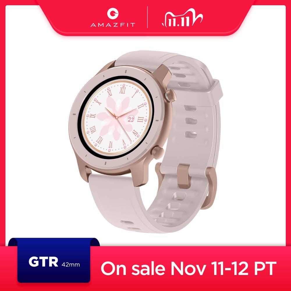 Em estoque versão global novo amazfit gtr 42mm relógio inteligente 5atm relógios femininos 12 dias