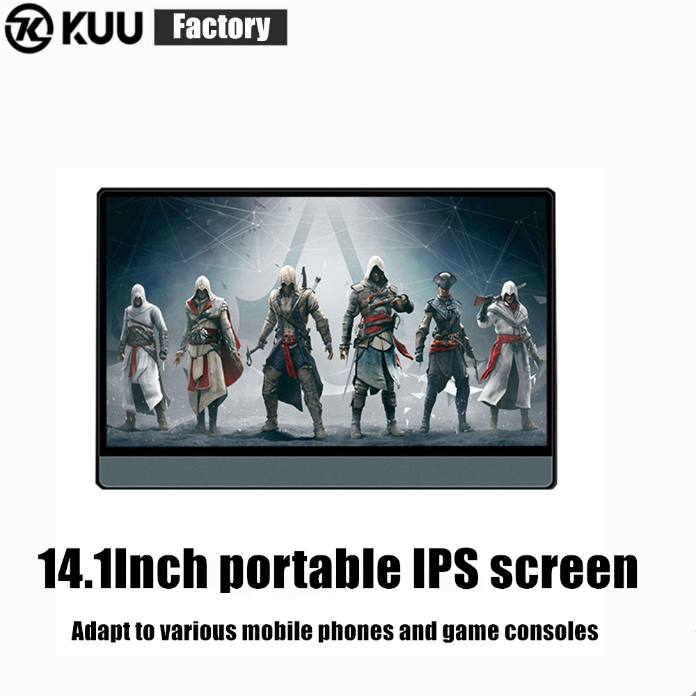 "KUU Portable Monitor 14.1"" LCD USB Type C Hdmi gaming monitor ips 1080p HD display for PS4 Laptop Phone Xbox Switch Pc with Case image"