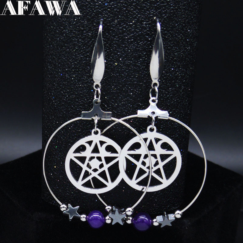 2020 Fashion Pentagram Moon Witchcraft Natural Crystal Stainless Steel Earring for Women Dangle Earrings Jewelry aretes E613009(China)