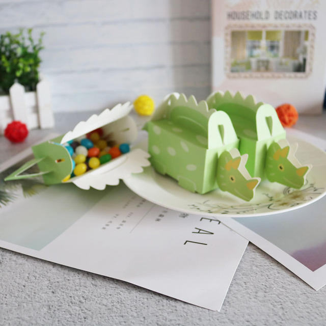 Вечерние коробки для печенья с динозавром, синие и зеленые коробки для конфет, 10 шт.