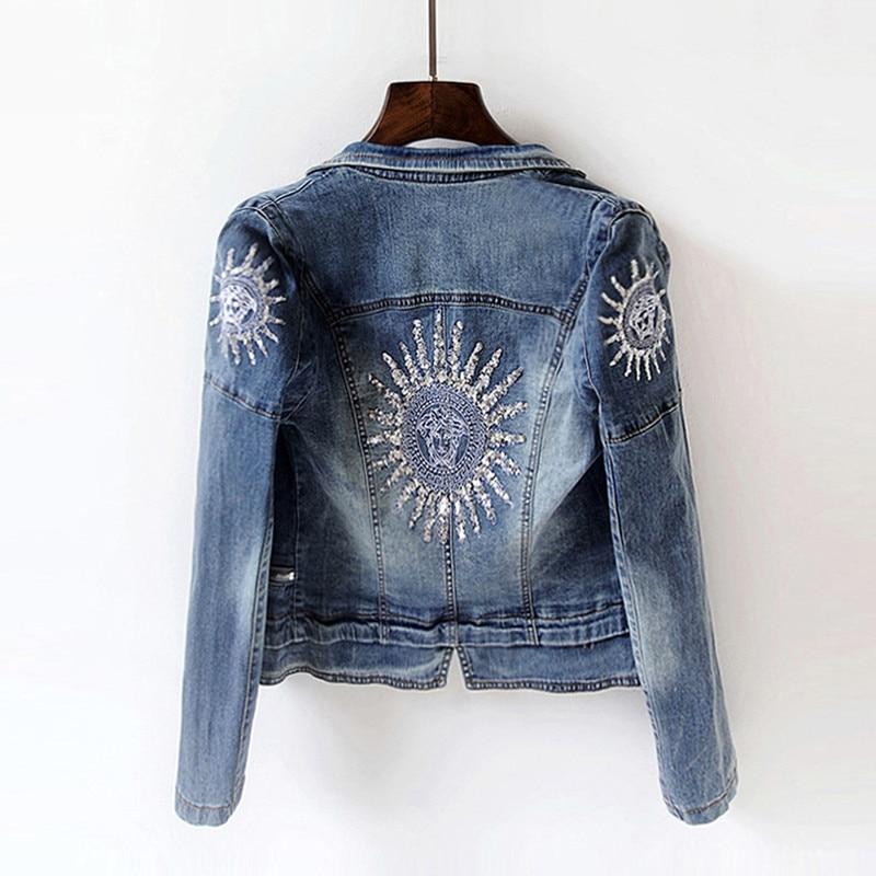 2019 Spring Women Fashion Sequins Jackets Long-sleeved Stretch Slim Denim Jacket Sun Plus Size Short Jacket Coat Cool Streetwear