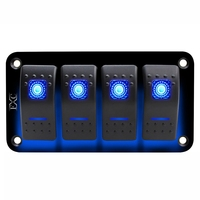 12V 24V 4 gang blue 2 LED Light Rocker Switch Panel Circuit Breaker Boat Marine Waterproof|Accessories|   -