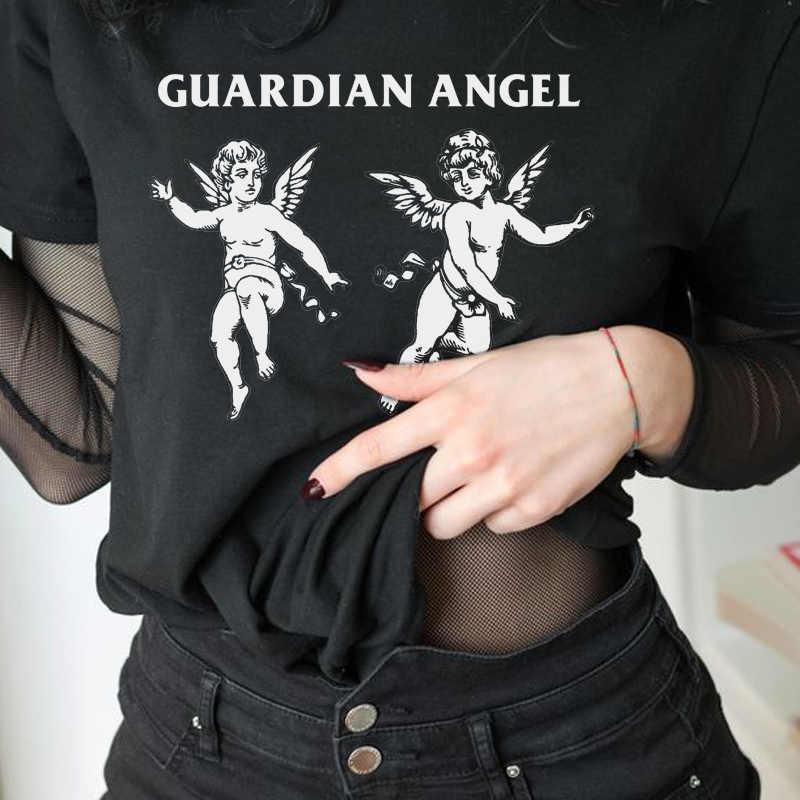 Melek şeytan gotik T-Shirt kadın iskelet baskı Grunge estetik Goth T gömlek koyu sinirli moda Streetwear grafik Tee