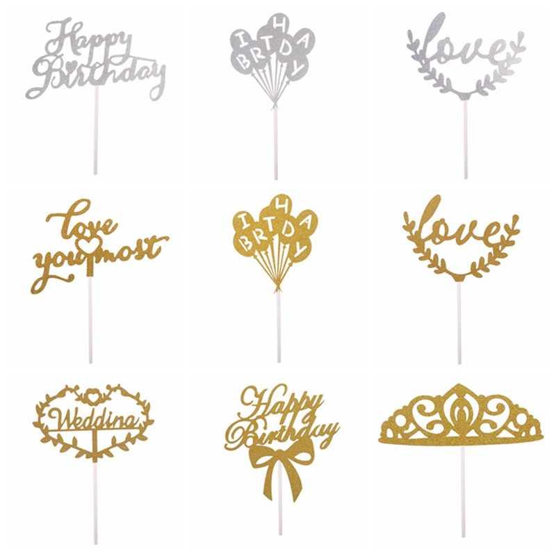 1pc Multi-cor Cupcake Bolo Topper Bolo Feliz Aniversário Bandeiras Para A Família da Festa de Aniversário Decoração Suprimentos de Cozimento