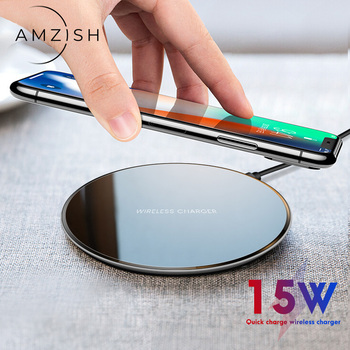 amzish 15W Fast QI Charger Wireless For iPhone 8 Plus X XR XS 11Pro Max Fast Wireless Charger Charging Pad for samsung S12 plus qi wireless fast charger pad bluetooth speaker nfc hifi bass loundspeaker music player charging for iphone 8 x for samsung