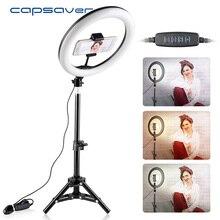 Capsaver Lámpara de anillo de maquillaje RL 10, 26cm, USB, regulable, con trípode para soporte de teléfono, Selfie para cámara, Youtube