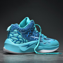 Men's Sneakers Basketball-Shoes Cushioning High-Sports-Shoes Blue Thick Cool Sole Breathable