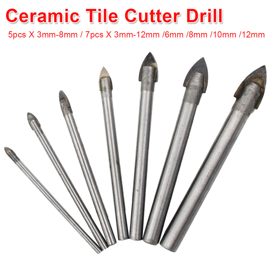 Tungsten Carbide Tipped Ceramic Tile Cutter Round Shank Glass Drill Bit Set Power Tools For Glass/ Ceramics/ Tiles Drill 3-12mm