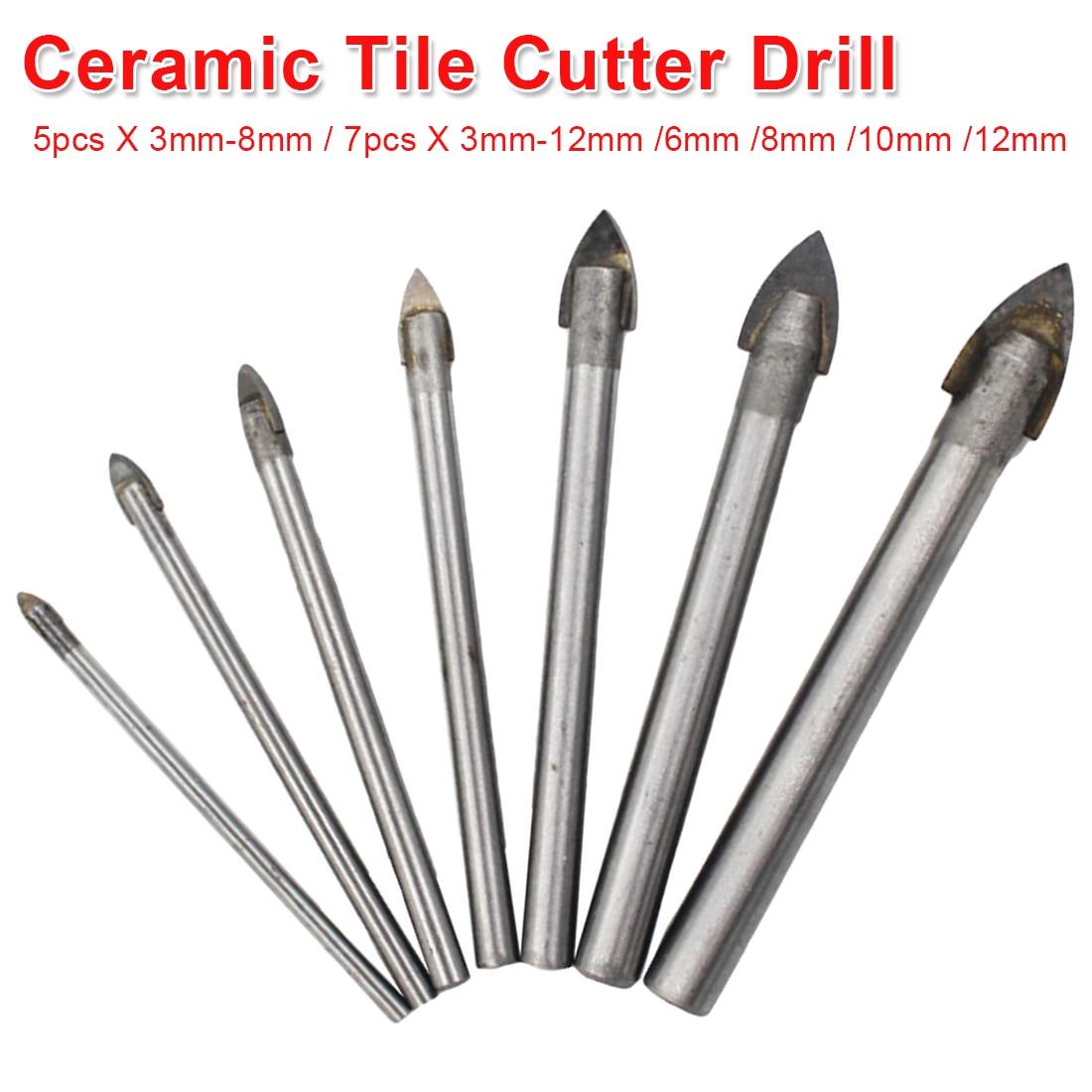 Porcelain Ceramic Tile Tungsten Carbide Drill Bit Set 3mm 4mm 5mm 6mm 8mm 10mm 12mm