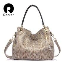 Realer женские сумки натуральная кожа бренд сумка с короткими ручками, сумки высокого качества кожаная сумка,саквояж,большая cумка через плечо,Дамская сумочка
