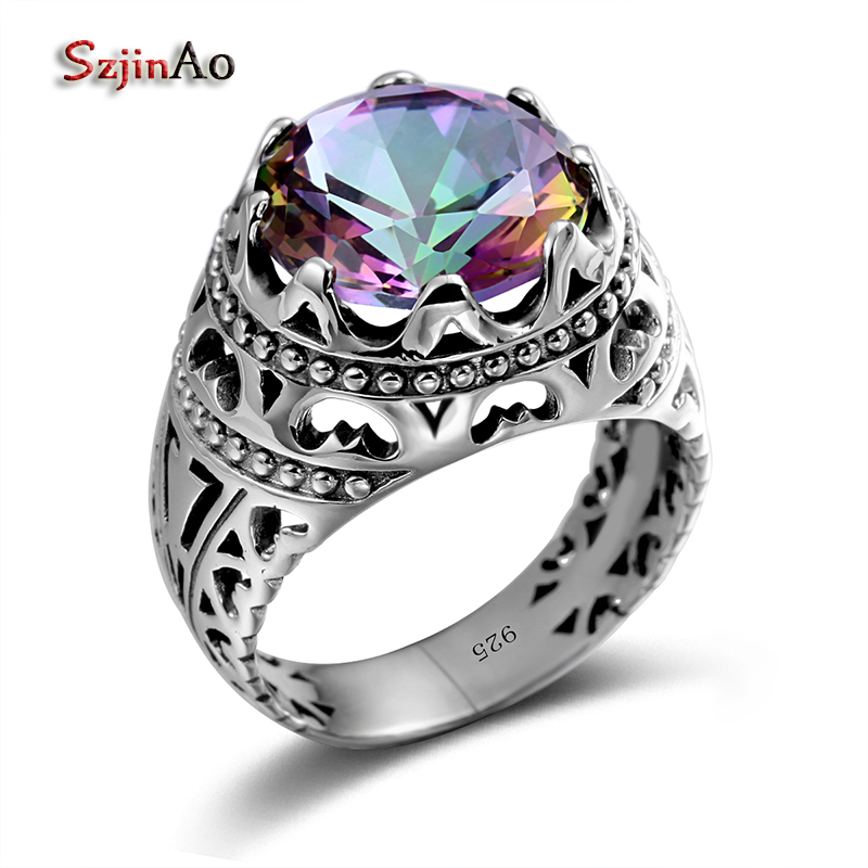 Szjinao Vintage Jewelry Round Rainbow Topaz <font><b>Ring</b></font> <font><b>925</b></font> <font><b>Sterling</b></font> <font><b>Silver</b></font> Big <font><b>Rings</b></font> <font><b>For</b></font> Women <font><b>Men</b></font> Wedding Engagement Anniversary Gift image