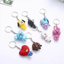 "Kpop bts-bangtan boys ""Suga"" ""TATA"" etc Personalized Cute Cartoon Keychain Bags Chain For Women Men Jewelry Bangtan Accessories(China)"